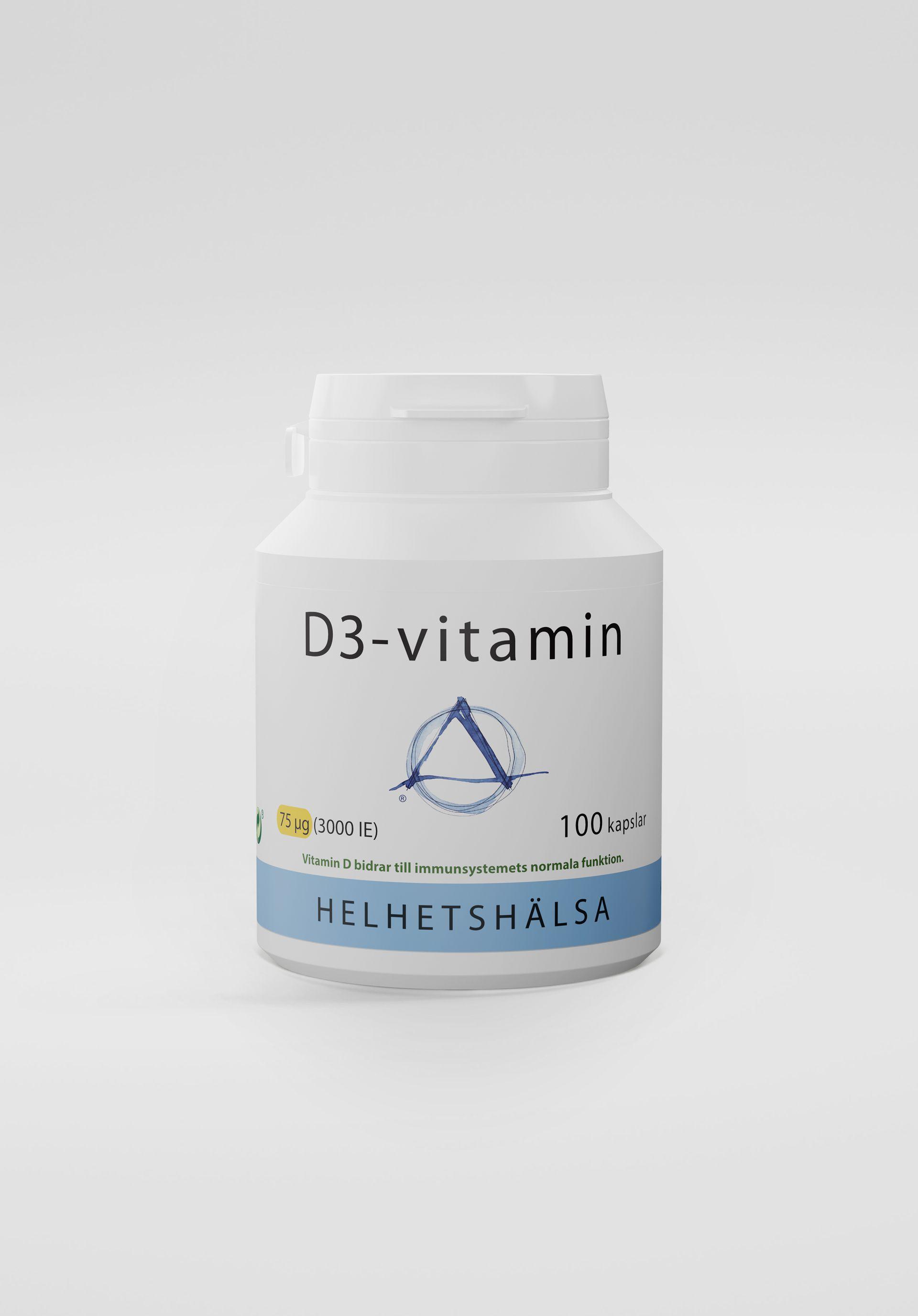 D3-vitamin, 75 µg, 100 kapslar