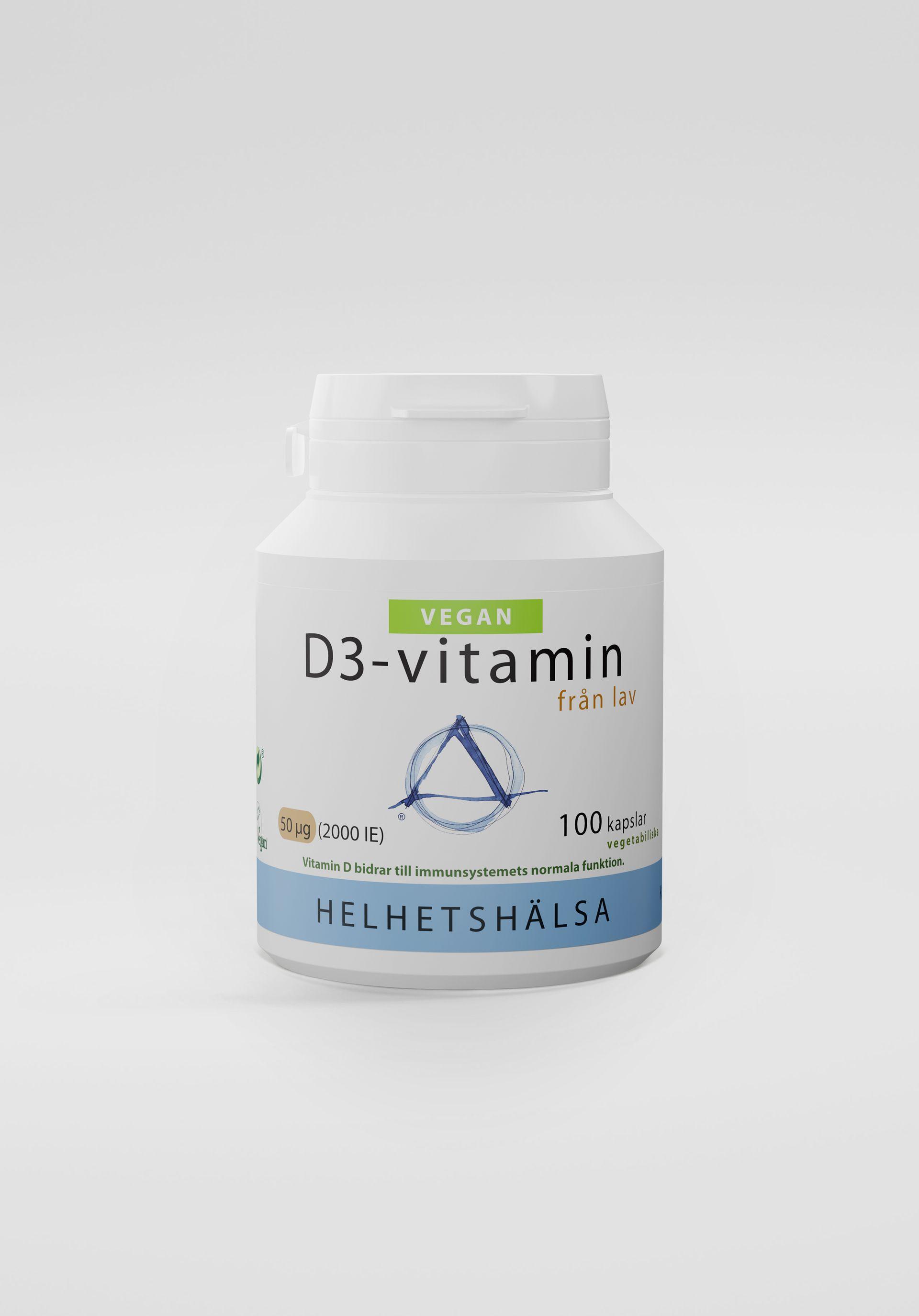 D3-vitamin, 50 µg, vegan, 100 kapslar