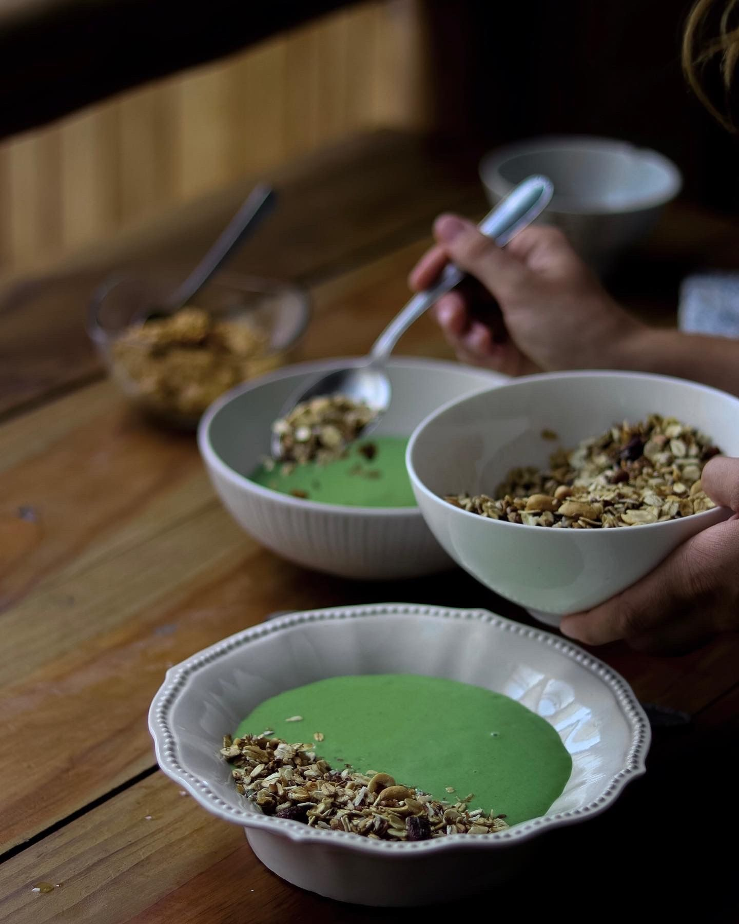 Proteinrik grön smoothiebowl, Grön smoothiebowl till frukost eller mellanmål